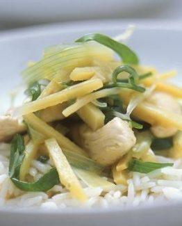 Hähnchenstreifen mit Zitrone und Basmatireis