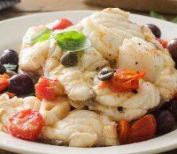 Seeteufel mit Kirschtomaten und Oliven aus Gaeta
